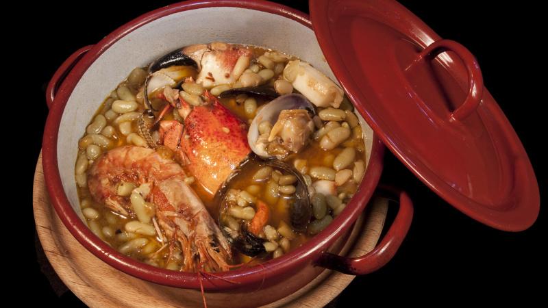 Verdina asturiana con marisco