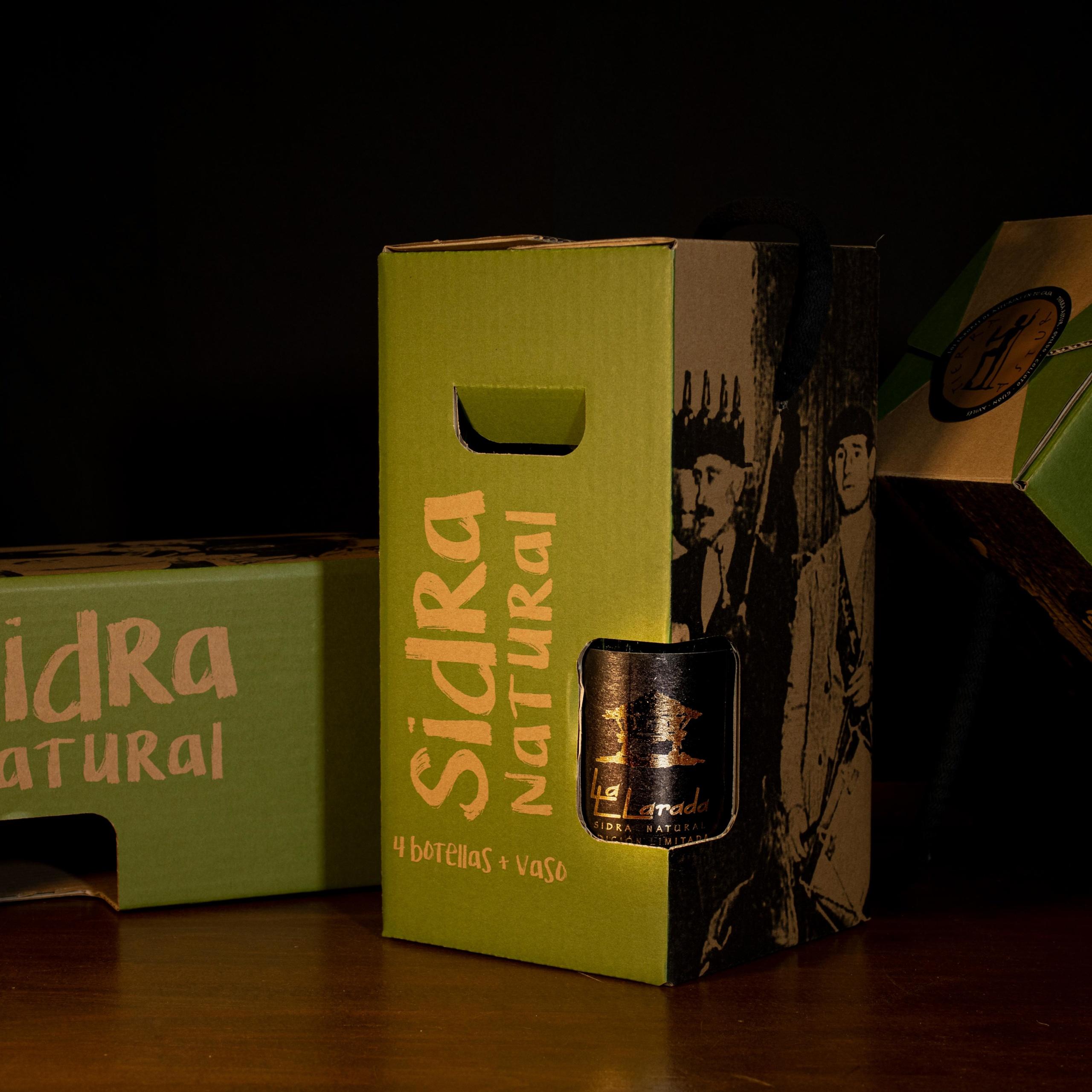 Bandolera de 4 botellas de sidra La Llarada